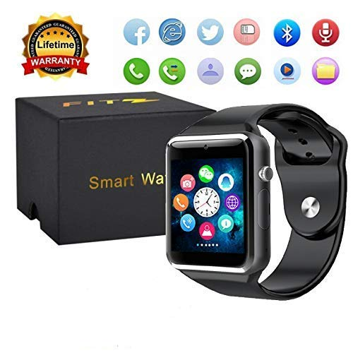 Sport Touch Screen Smartwatch Waterproof Bluetooth Smart Watch Phone with Camera Pedometer Sleep Monitor Music Player for iPhone/iOS/iPhone/Samsung/Android (A1Black) (Word Watch Clock)