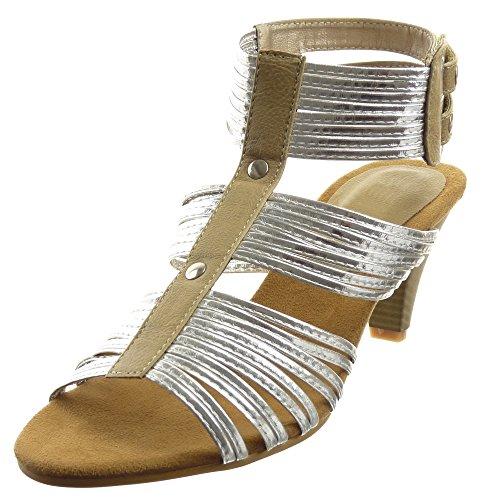 Sopily - Chaussure Mode Sandale Cheville femmes Brillant multi-bride clouté Talon haut cönique 6.5 CM - Khaki