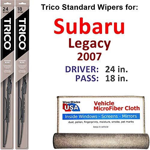 Wiper Blades for 2007 Subaru Legacy Driver & Passenger Trico Steel Wipers Set of 2 Bundled with Bonus MicroFiber Interior Car Cloth