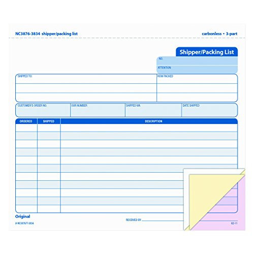 TOPS Shipper/Packing List Form, Triplicate, Carbonless, 8.5 x 7 Inches, 50 Sets per Pack (3834) - Snap Off Carbonless Invoices Triplicate