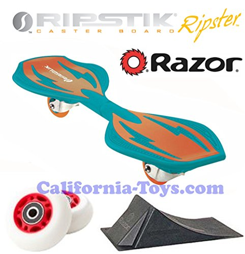 Green/Orange Brights Razor Ripster Castor Board with PUNK RAMP & Extra Set of 68mm Red RIPSTER Replacement Wheels - Mini Ripstik