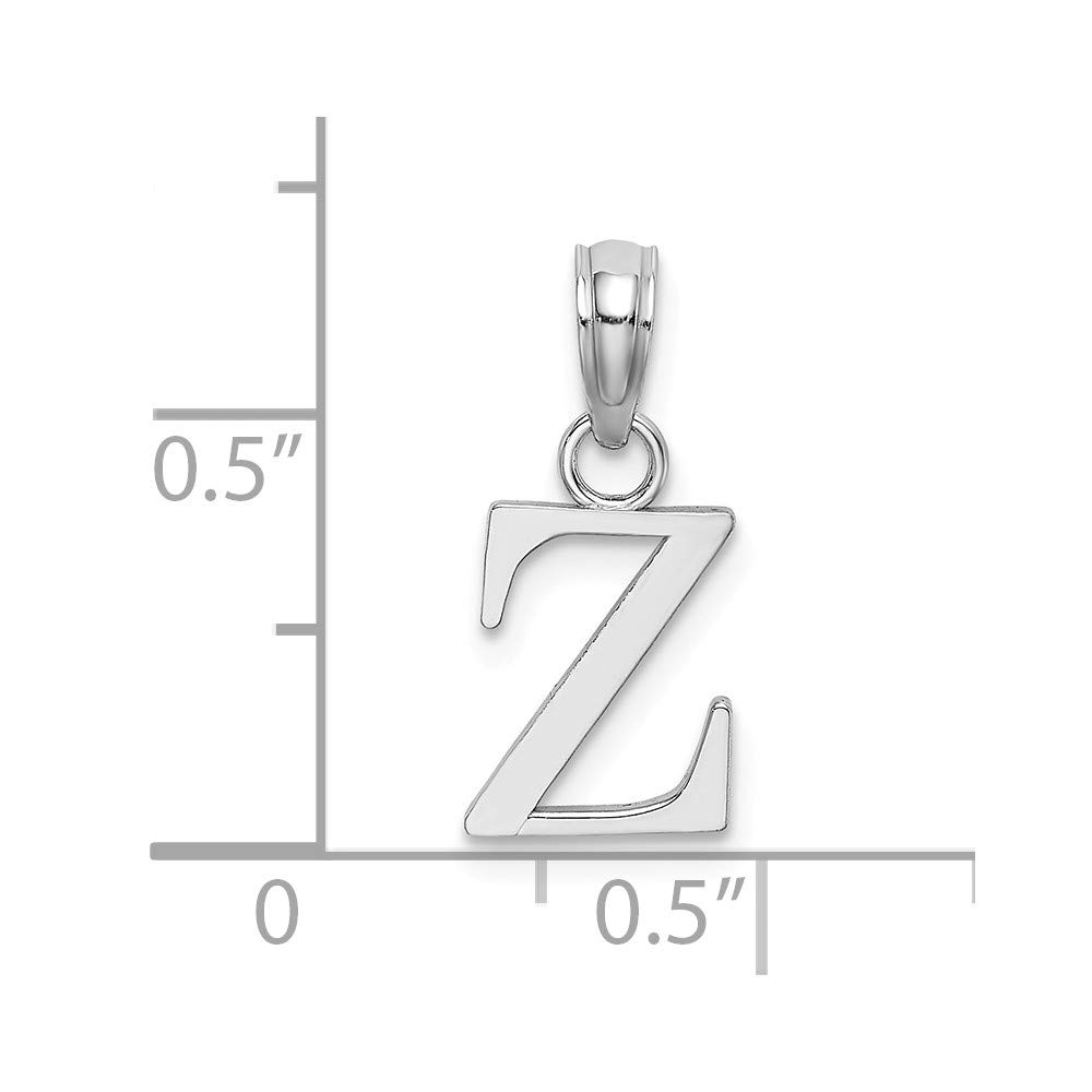 14K White Gold Polished Z Block Initial Small Charm Pendant