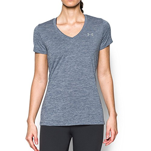 Free Under Armour Women's Twist Tech V-Neck, Aurora Purple/Metallic Silver, Small