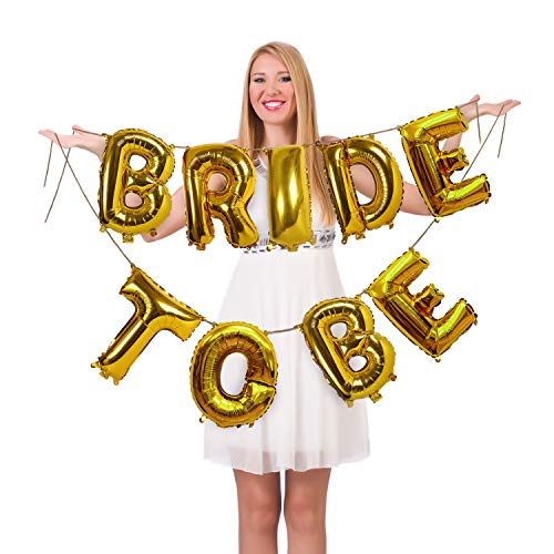(Treasures Gifted Gold Bride to Be Banner Garland Kit in 16 Inches Foil Mylar Letters Balloons for Bachelorette Party Bridal Shower Celebration)