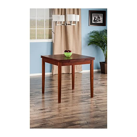 """Winsome Pulman Dining Table, Walnut - Overall extended size is 48"""" W x 29. 9"""" D x 29. 2"""" H. Compact size is 29. 9"""" W x 29. 9"""" D x 29. 2"""" H Made of solid wood in Walnut Finish Assembly required - kitchen-dining-room-furniture, kitchen-dining-room, kitchen-dining-room-tables - 51 rkL9UlrL. SS570  -"""