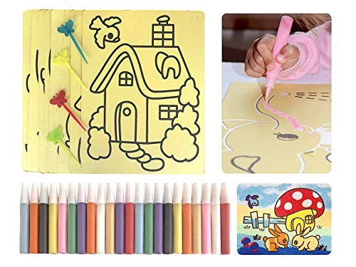CreativeSandStore Sand Art for Kids, 8 Sand Art Painting Cards, 22 Colored Sand Pens & 4 Butterfly Picks