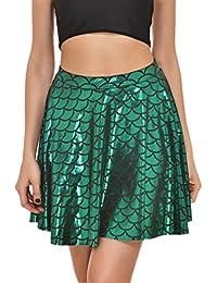 Fish Scales Skirts Women Party Cute Mermaid Mini Flared...