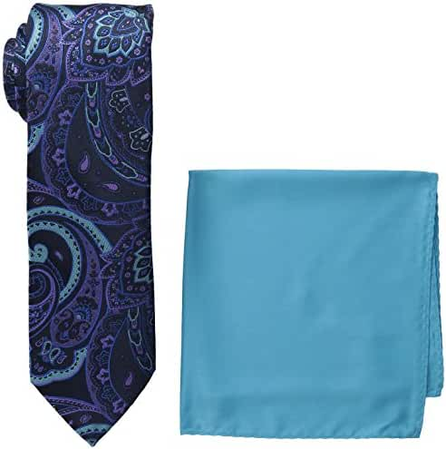 Steve Harvey Men's Paisley Woven Necktie and Solid Pocket Square