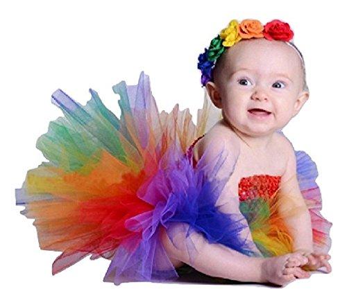 Rainbow Tutu Dress & Headband Set w/Floral Detail from Chunks of Charm (9 Months)]()