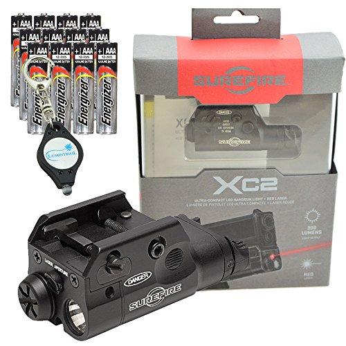 Handgun Weaponlight (SureFire XC2 Weaponlight Ultra Compact LED Handgun Light with 12 Extra Energizer AAA Batteries and Lumintrail Keychain Light)