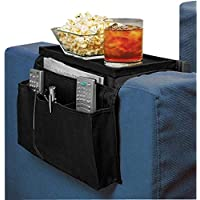 Sofa Armrest Organizer Couch Storage Bag with Tray Hanging Sofa Storage Pocket Bag Sturdy Armchairs Couch Caddy Organiser TV Remote Control Holder Space Saver Bags for Phone Magazine Books Mug Cup