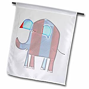 PS Creations - Patriotic Elephant - Animals - Art - Red, White and Blue - 12 x 18 inch Garden Flag (fl_52721_1)