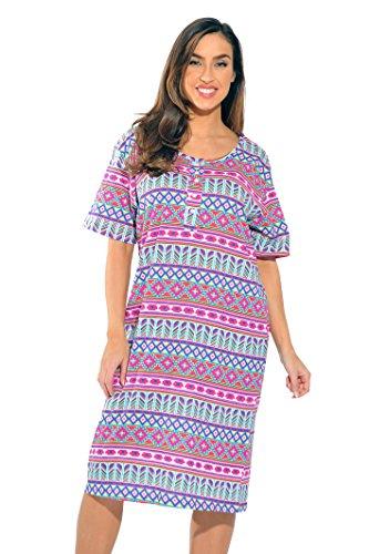 4360-R-10070-2X Just Love Short Sleeve Nightgown / Sleep Dress for Women / Sleepwear,Colorful Aztec,2X Plus