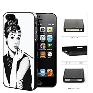 Audrey Hepburn Black And White Sketch Hard Plastic Snap On Cell Phone Case Apple iPhone 4 4s