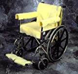 Wheelchair Back Cover - Maize Fleece fabric folds over the back of the wheelchair and secures with hook & loop around the handle.