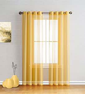 Best sheer grommet window curtains panels for bedroom living room kitchen kid 39 s - Amazon curtains living room ...