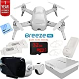 Yuneec Breeze 4K Compact Quadcopter Drone Ultimate Bundle with Hard Case, 2 Batteries, 32GB Card, Cleaning Kit, Microfiber Cloth and One Year Warranty Extension