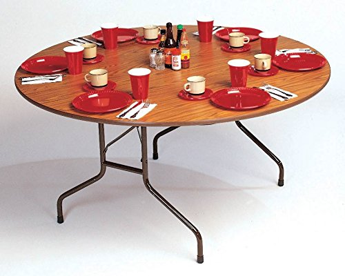 Correll Round Solid Fixed Height Folding Table (60 in. Round/Med Oak)
