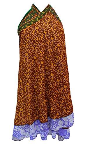 Vestido reversible Georgette magia falda del abrigo cabestro Pareo Tubo Ocre amarillo y naranja Rust