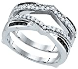 10kt White Gold Womens Round Black Colored Diamond Wrap Ring Guard Enhancer Wedding Band 1/2 Cttw (I2-I3 clarity; Black color)
