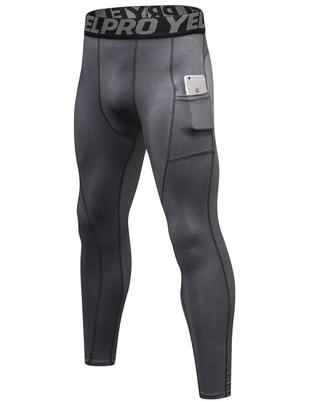 Lavento Men's Compression Pants Baselayer Cool Dry Pocket Running Ankle Leggings Active Tights (1 Pack-3911 Gray,2X-Large)