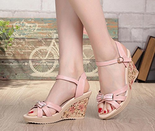 High Platform With FL Femmes YC Casual Thick 35 Heel Sandals Down Leather Waterproof Flat Slope pink Summer XrwXqnx6P5