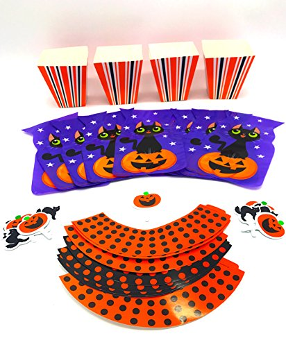 Halloween Party Treat Kit- Includes 12 popcorn boxes, 20 cello bags and 12 cupcake wrappers