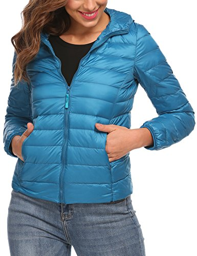 Zeagoo Women's Packable Ultra- Light Weight Hooded Short Down Jacket (Royal Blue, Medium)