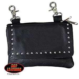 Hot Leathers, Black LADIES CLIP POUCH PURSE with Studs, Adjustable Strap with Heavy Duty Lobster Claw Clips - 8 X 5 X 1