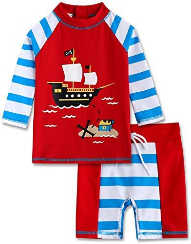 Vaenait baby 2T-7T Infant Boys Rashguard Swimsuit Marine Pirate L (4 Piece Pirate Set)