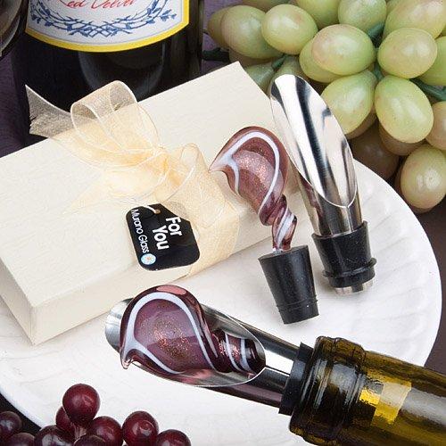 FashionCraft Murano Glass Collection Swirl Design Wine Po...