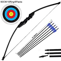 Dostyle Outdoor Recurve Bow and Arrow Set Archery Training Toy(40LB,5 Arrows,6 Target Faces)