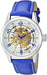 Peugeot Men's 'Stainless Steel' Quartz and Leather Aviator Watch, Color:Blue (Model: 149SBL)