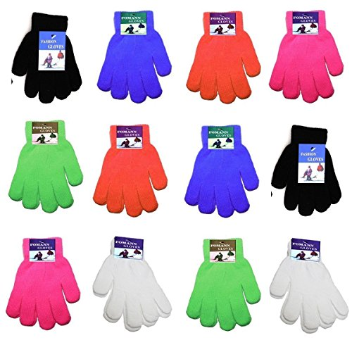 Children Warm Magic Gloves 12 Pairs Teens Winter Gloves Boys Girls Knit Gloves(7 to 16 years old)