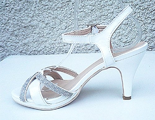 A8001 Prom Bianchi Open Strass Con Toe Sposa Da Sera Da Donna Fashionfolie Tacco Sandalo Scarpe qU1afzIwWT