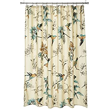 JLA Home INC Quincy Pattern Bird Floral Cotton Fabric Shower Curtain Vintage Transitional