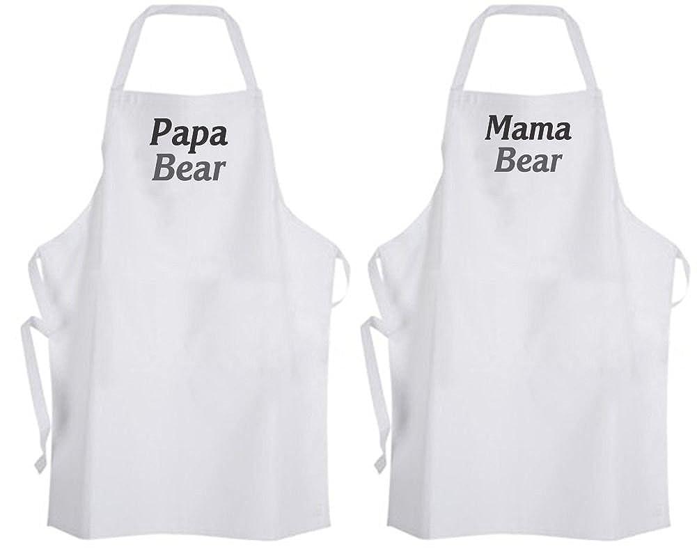 セット2 Papa / Mama Bear大人用サイズエプロンDad父ママ母両親   B06XFMN89X