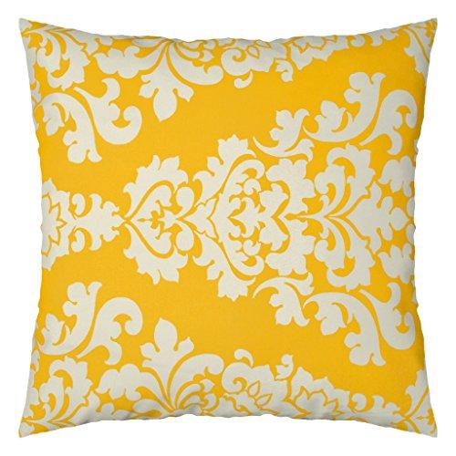 JinStyles Damask Outdoor Decorative Throw Pillow Cover (Yellow, 26 x 26 Inch) (Pillows Damask Decorative)