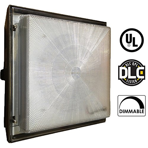 Slim LED Canopy Light, 120-277V AC, 90 Watts (400W Incandescent Equivalent), Daylight White (5000K), CRI80, 9000 Lumens, Black Finish, UL Listed, DLC Qualified