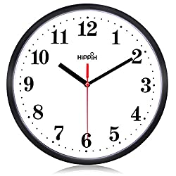 Silent Non Ticking Quartz Wall Clock by Hippih, Battery Operated 10 Inch Round Easy to Read for Home Office School Decor Clock