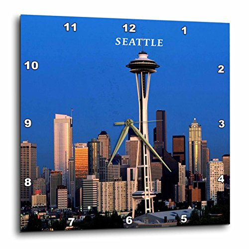 3dRose dpp_62081_1 Seattle Space Needle Wall Clock, 10 by 10-Inch