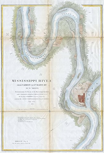 Cs Chart (Historical 1865 U.S.C.S. Chart or Map of the Mississippi River around Cairo Illinois | 24 x 36in Fine Art Print | Antique Vintage Map)