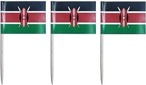 JAVD CYPS 100 Pcs Kenya Flag Kenyan Toothpick Flags, Small Mini Stick Cupcake Toppers Kenyan Flags,Country Picks Party Decoration Celebration Cocktail Food Bar Cake Flags