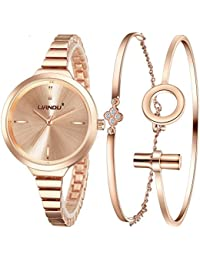 Fashion Women's Rose Gold-Tone Bracelet Watch and Charm Rose Gold Bracelet Set