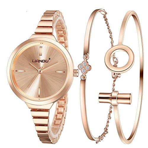 Bracelet Gold Charms Watch With - Jechin Fashion Women's Rose Gold-Tone Bracelet Watch and Charm Rose Gold Bracelet Set