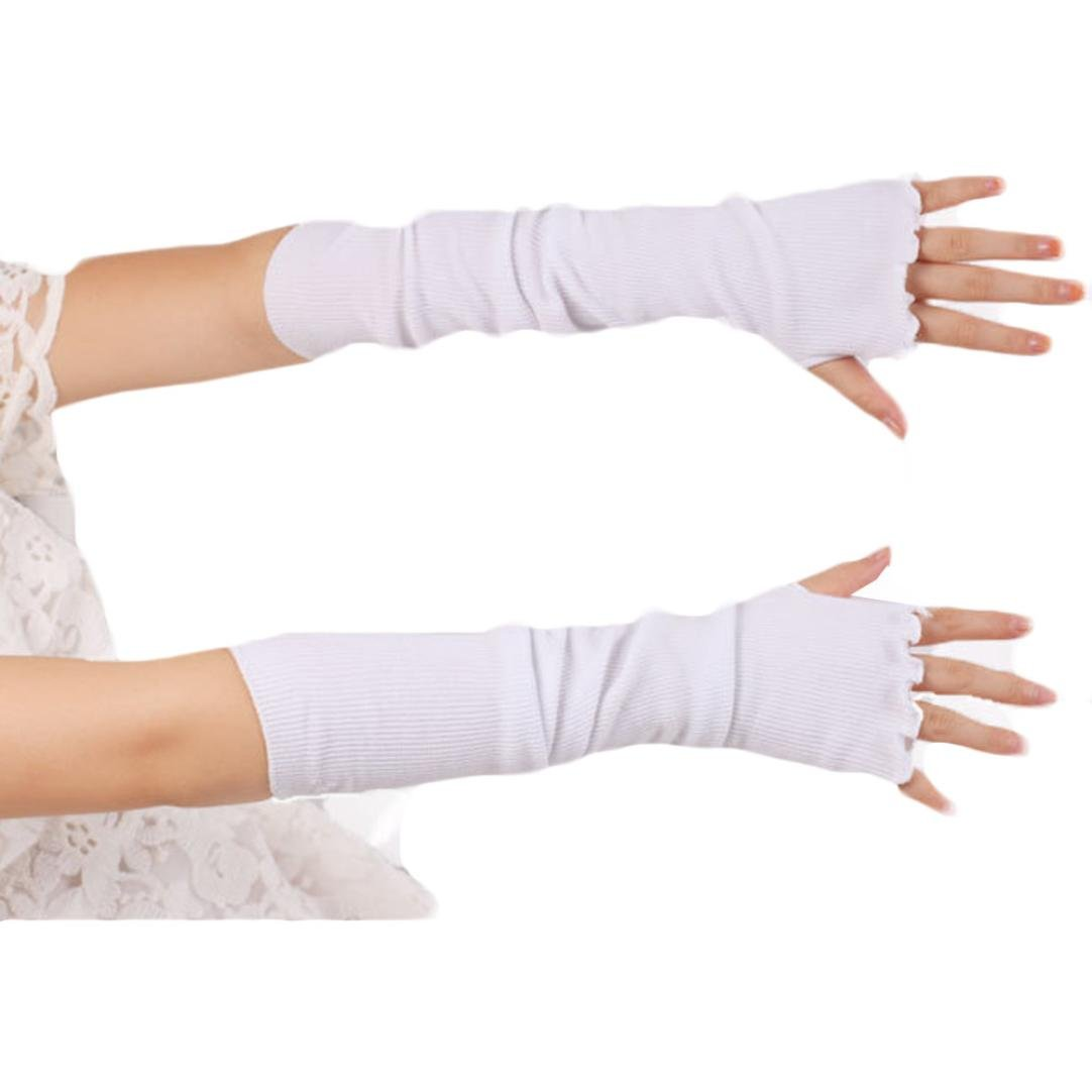 DZT1968® Long Knit Fingerless Arm Warmer Gloves Mittens Sleeves