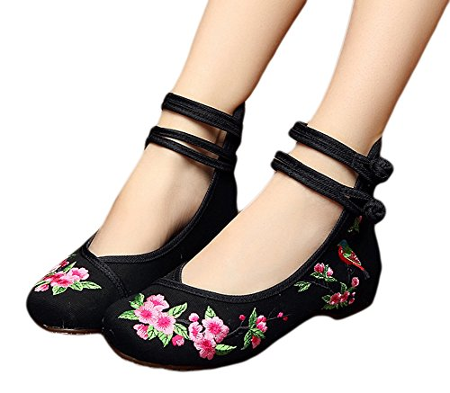 black cotton mary jane chinese dress shoes - 7