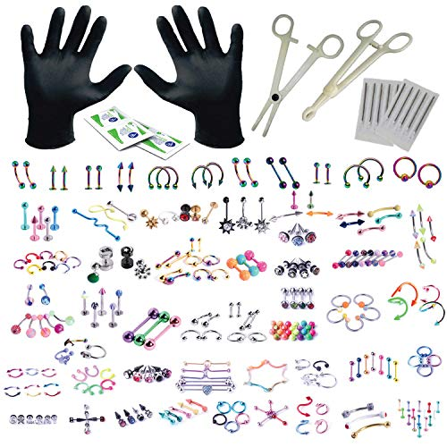 BodyJ4You 156PC Body Piercing Kit Lot 14G 16G Rainbow Belly Ring Tongue Tragus Random Mix Jewelry