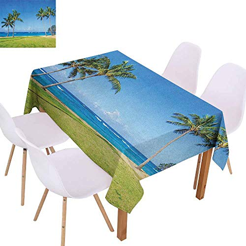 Marilec Waterproof Tablecloth Hawaiian Coconut Palm Trees and Lawn on The Sandy Poipu Beach in Hawaii Kauai Picture Print Party W52 xL72 Blue Green