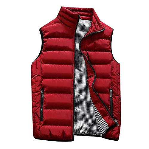 Big Daoroka Mens Plus Size Padded Cotton Vest Jackets Autumn Winter Pockets Zipper Coat Fashion Casual Outwear Tops Blouse